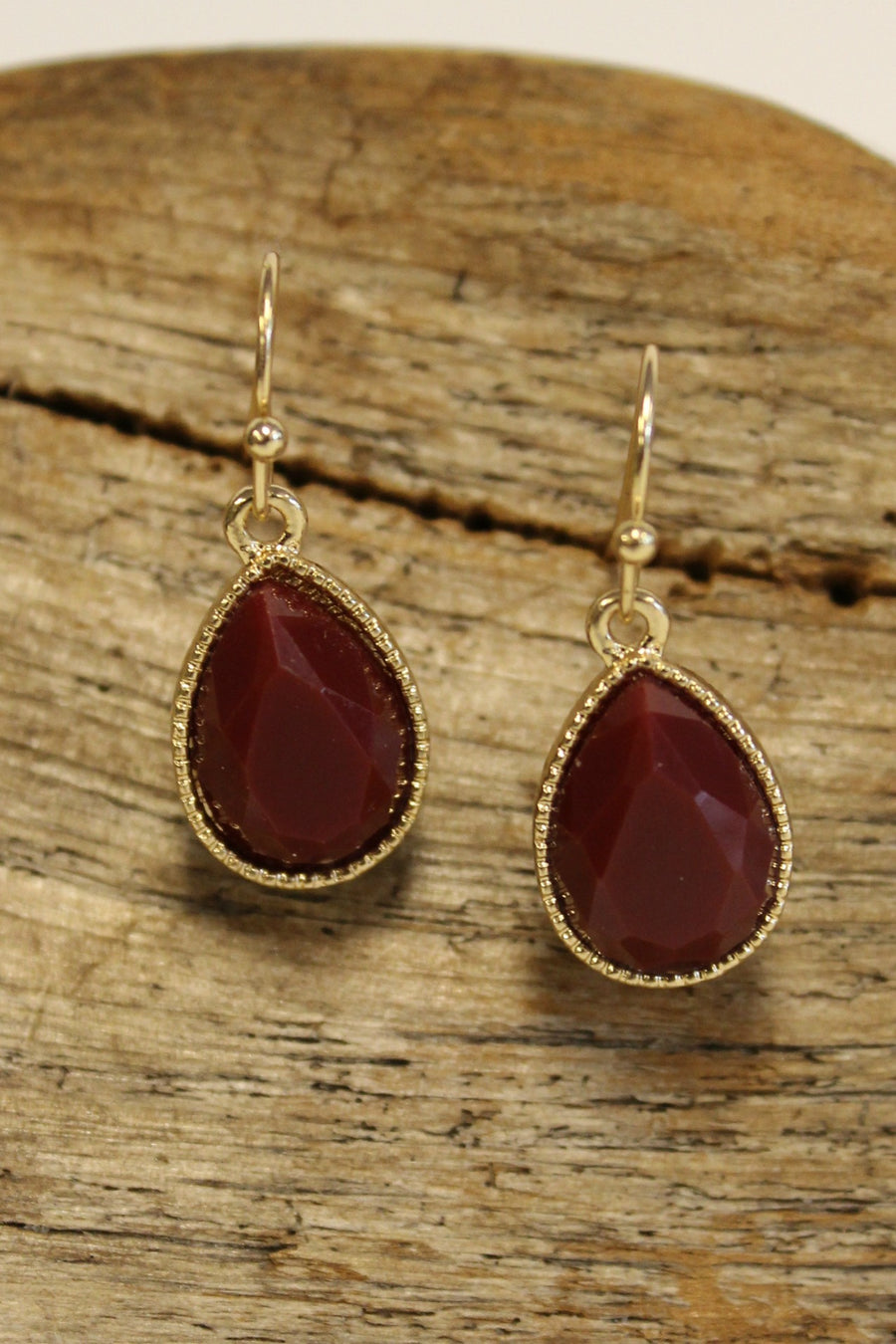 Bead Frame Teardrop Earrings, Garnet
