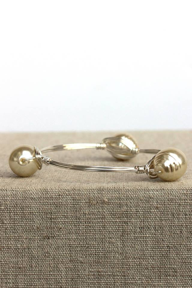 Pearl Bangle, Silver
