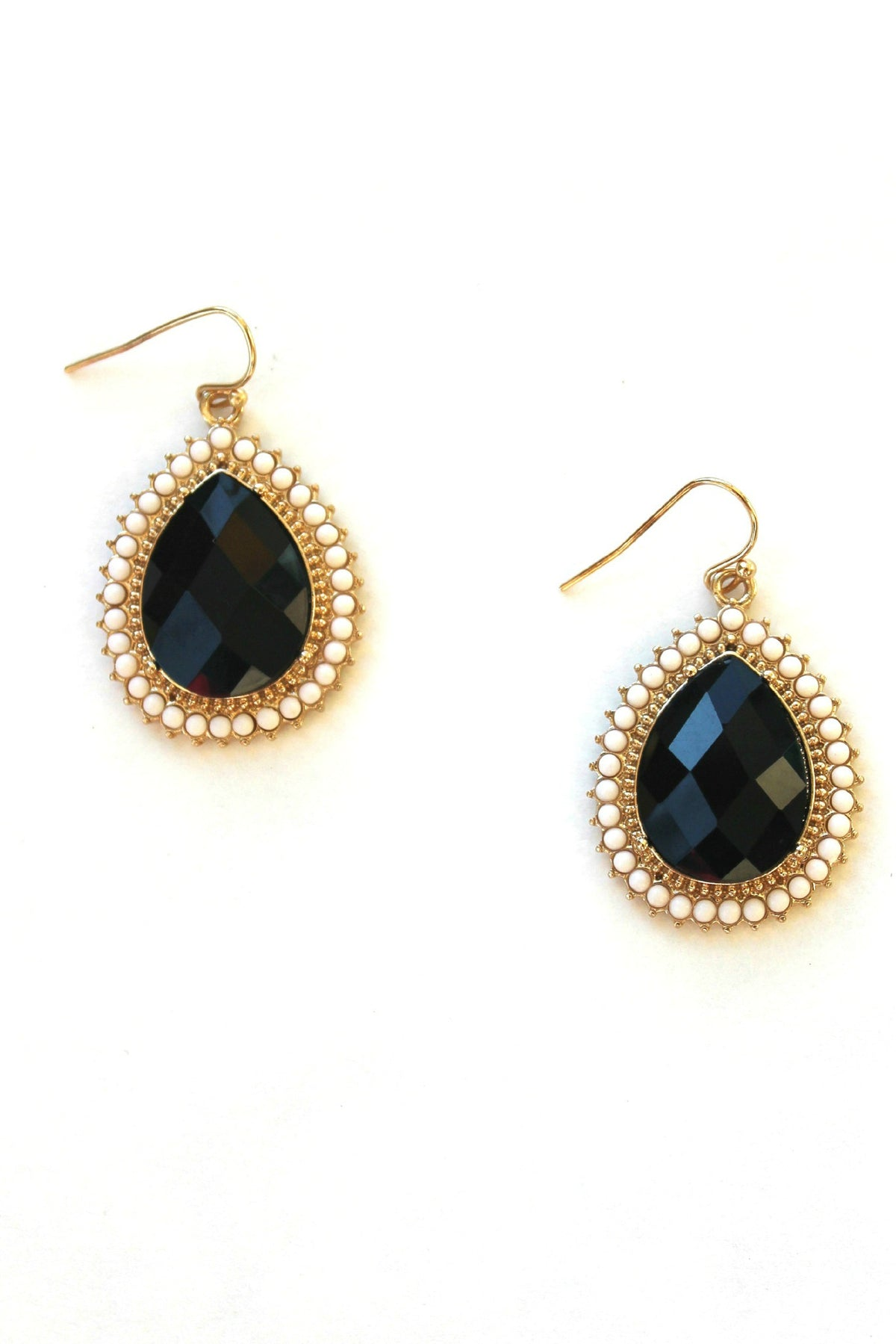 Teardrop with Bead Trim Earrings, Black