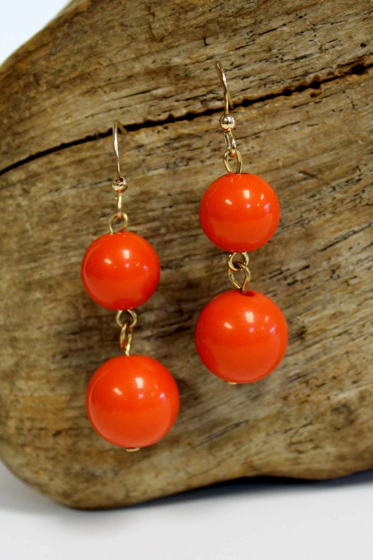 Double Bead Earrings, Deep Orange