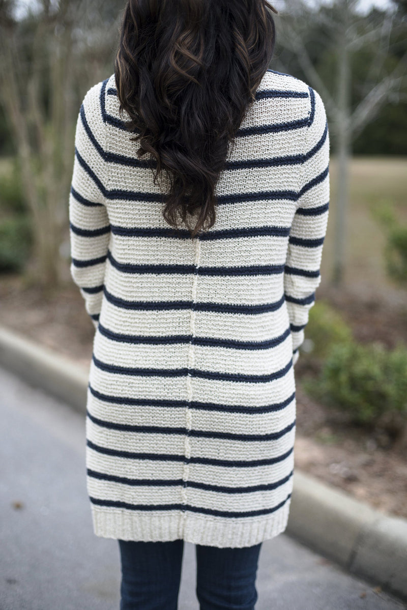 Free People: Amy Cardigan, Ivory/Navy