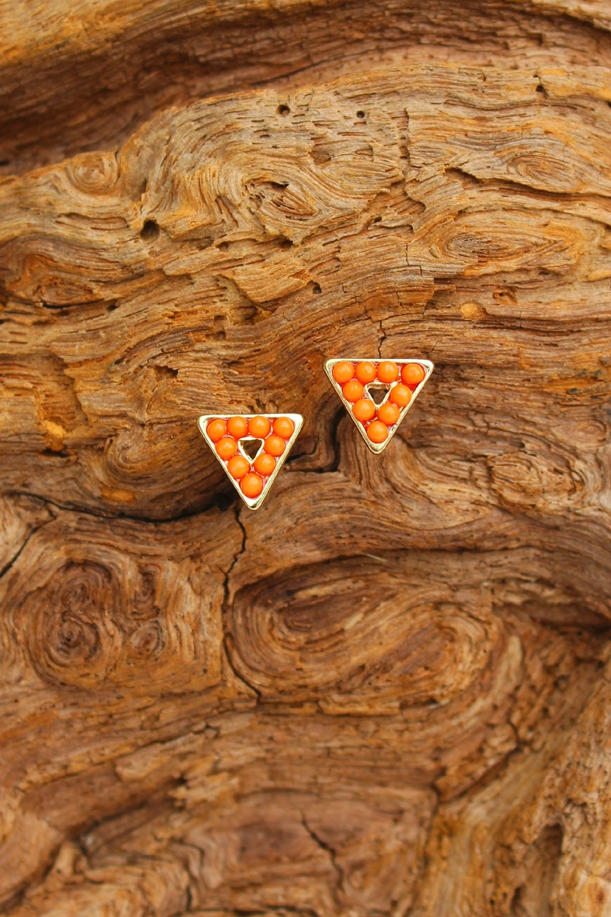 Beaded Triangle Earrings, Orange