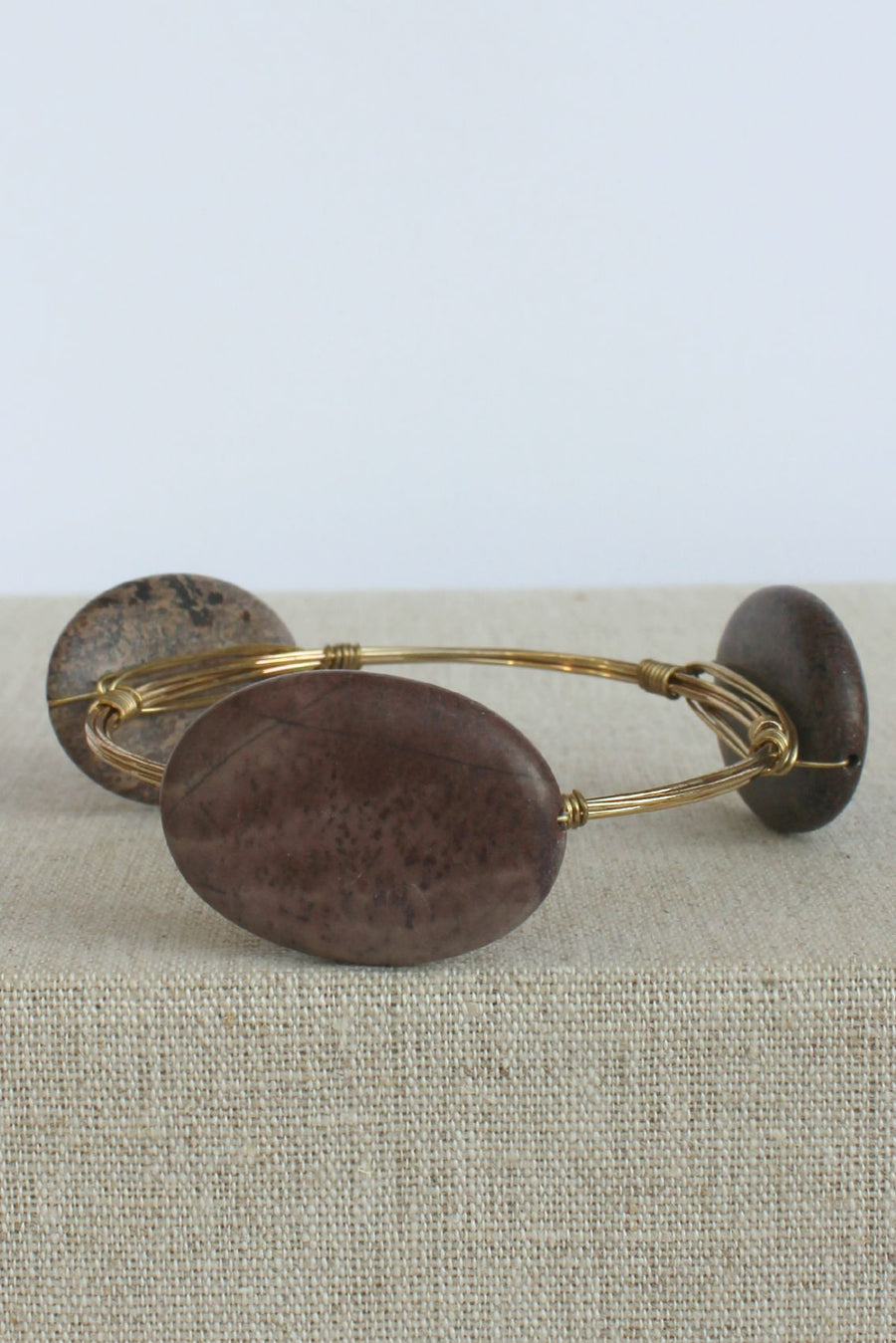 Oval Stone Bangle, Brown