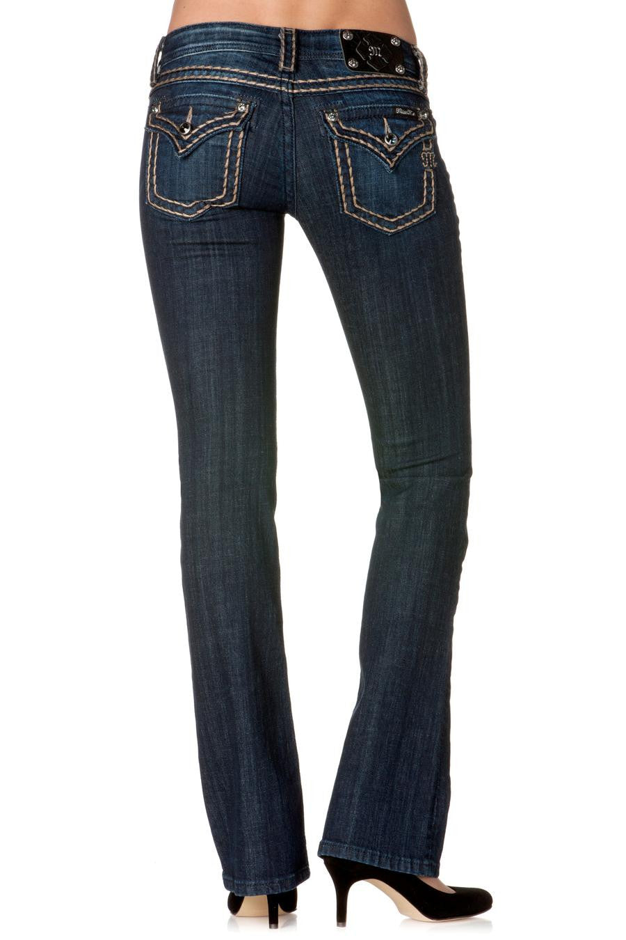 Miss Me: Britney Boot-Cut Denim, Dark Blue