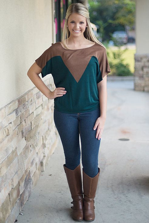 Sheryl Top, Green/Brown