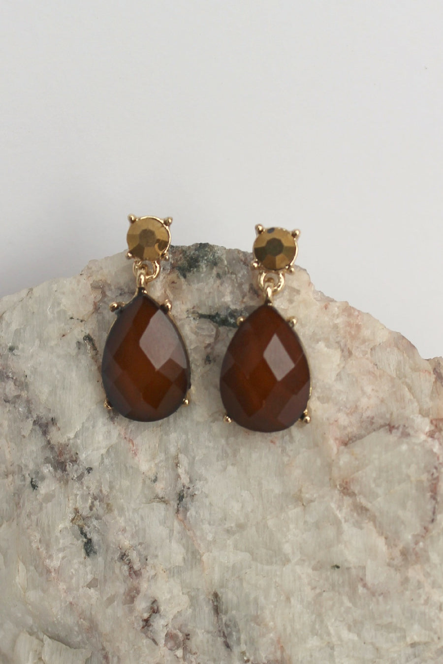 Teardrop Earrings, Caramel