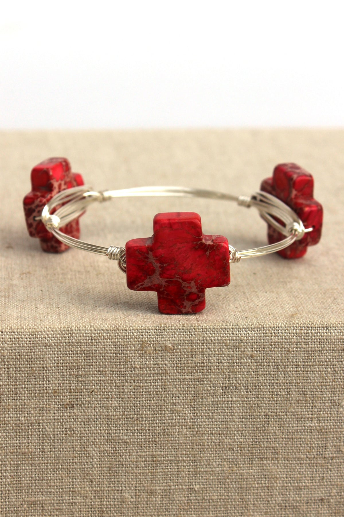 Square Cross Bangle, Red