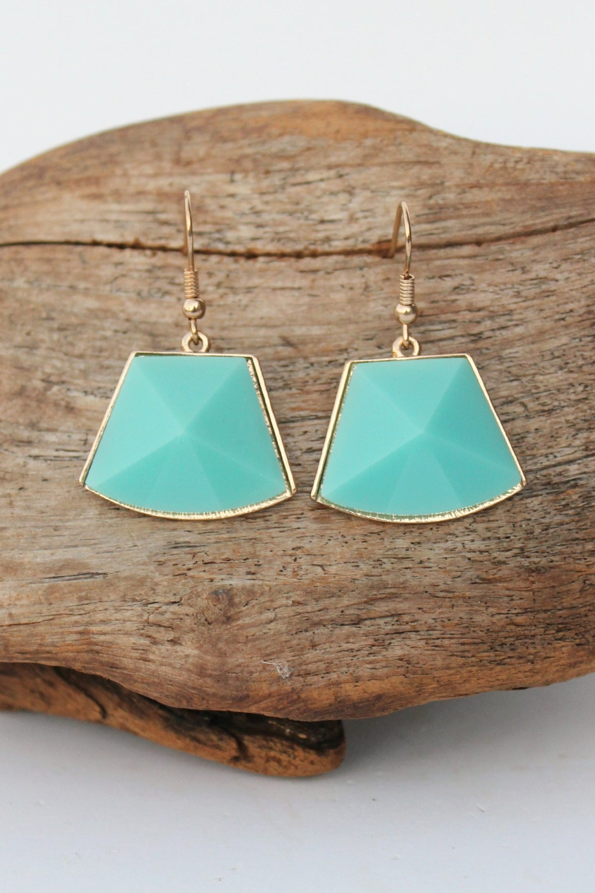 Curvy Trapezoid Earrings, Aqua