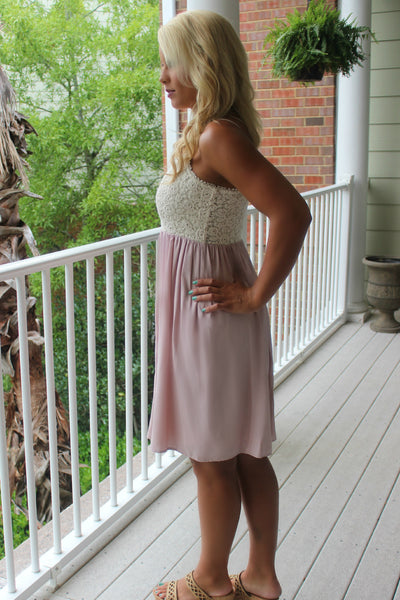 Monica Dress, Ivory/Blush