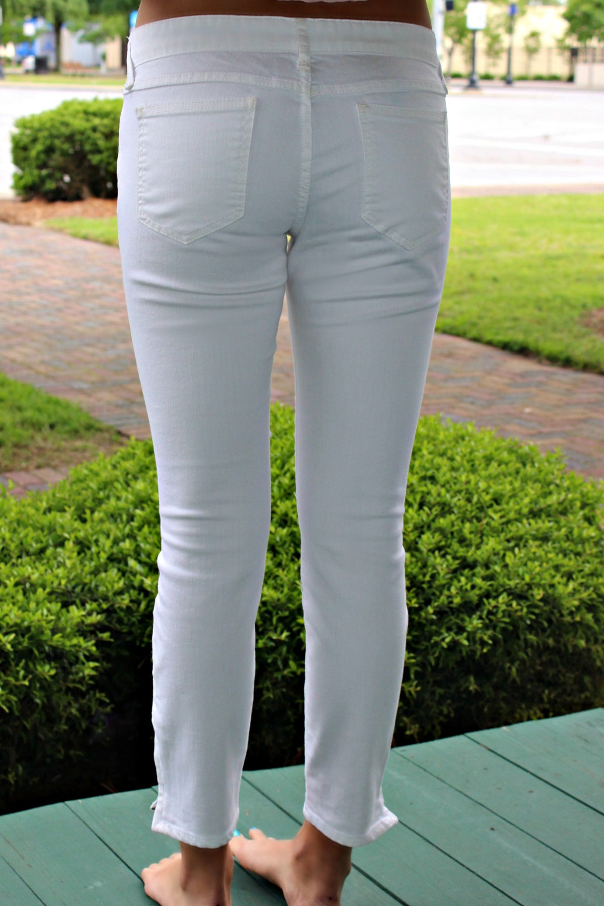 Free People: Cropped Skinny Jeans, White