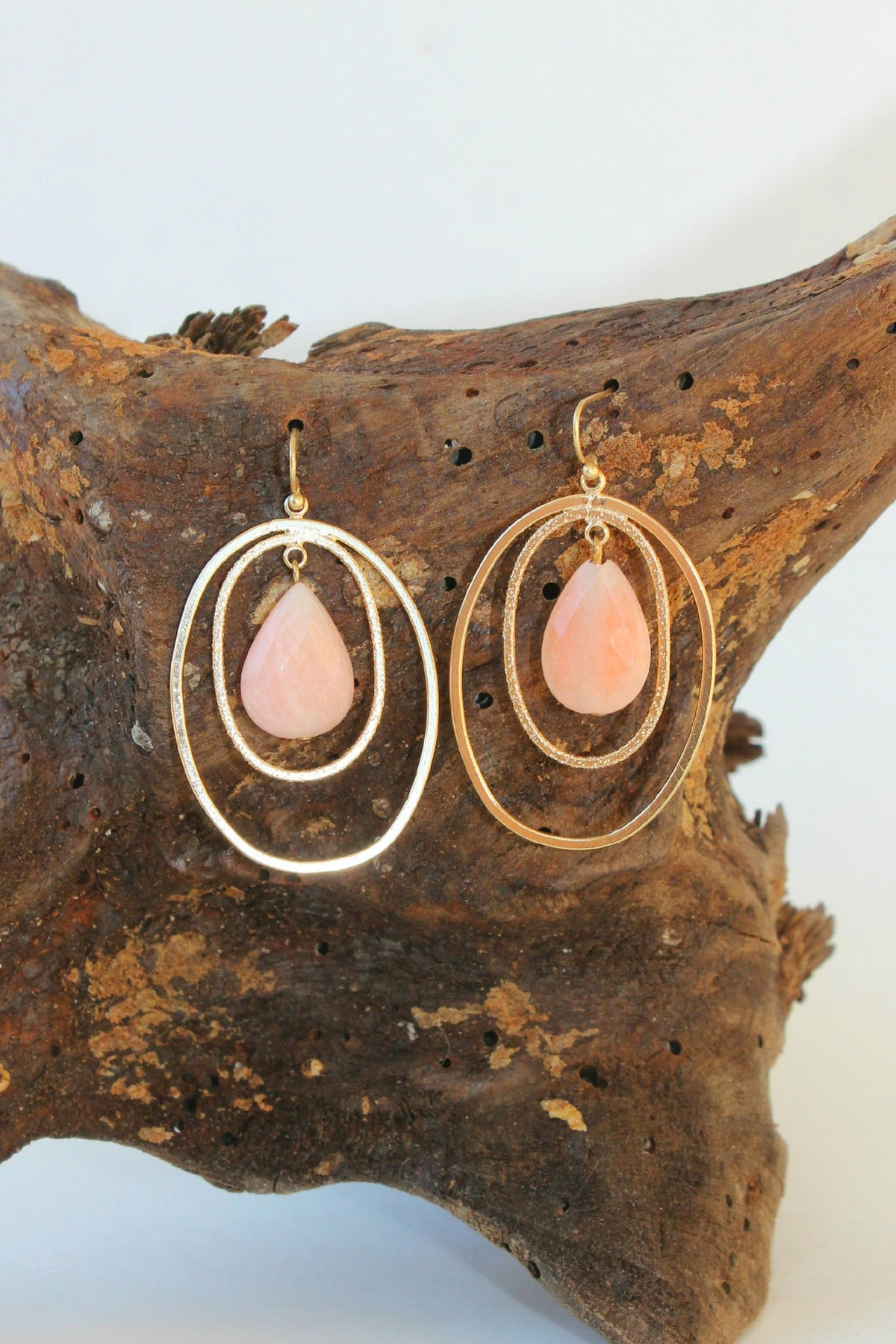 Cutout Earrings, Peach