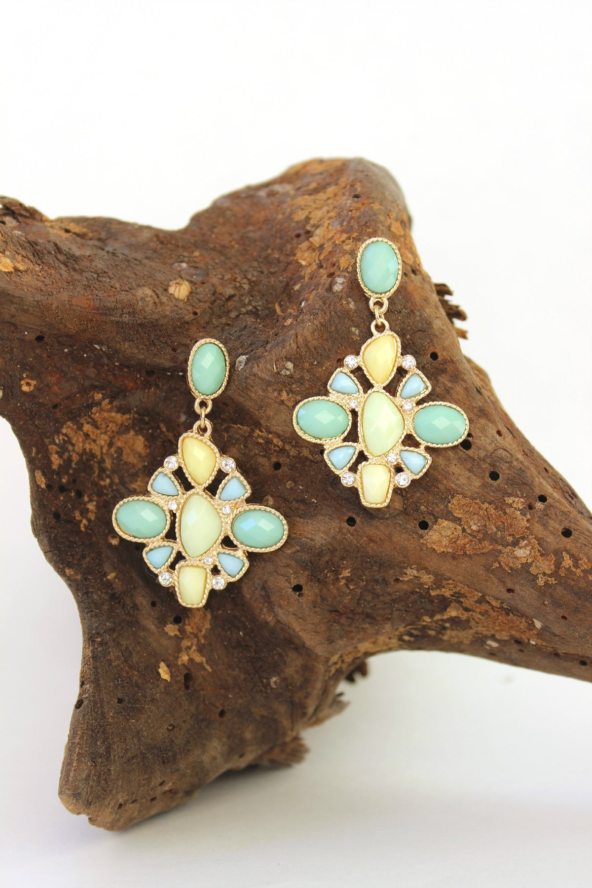 Cluster Drop Earrings, Mint