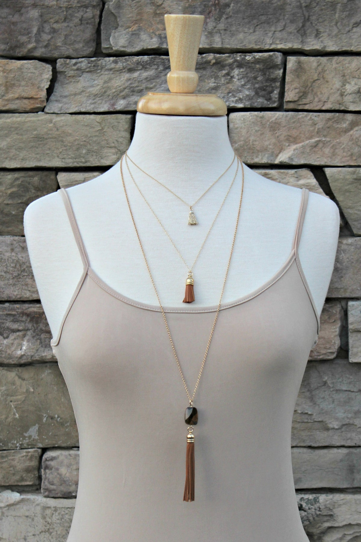 Triple Layered Necklace, Brown