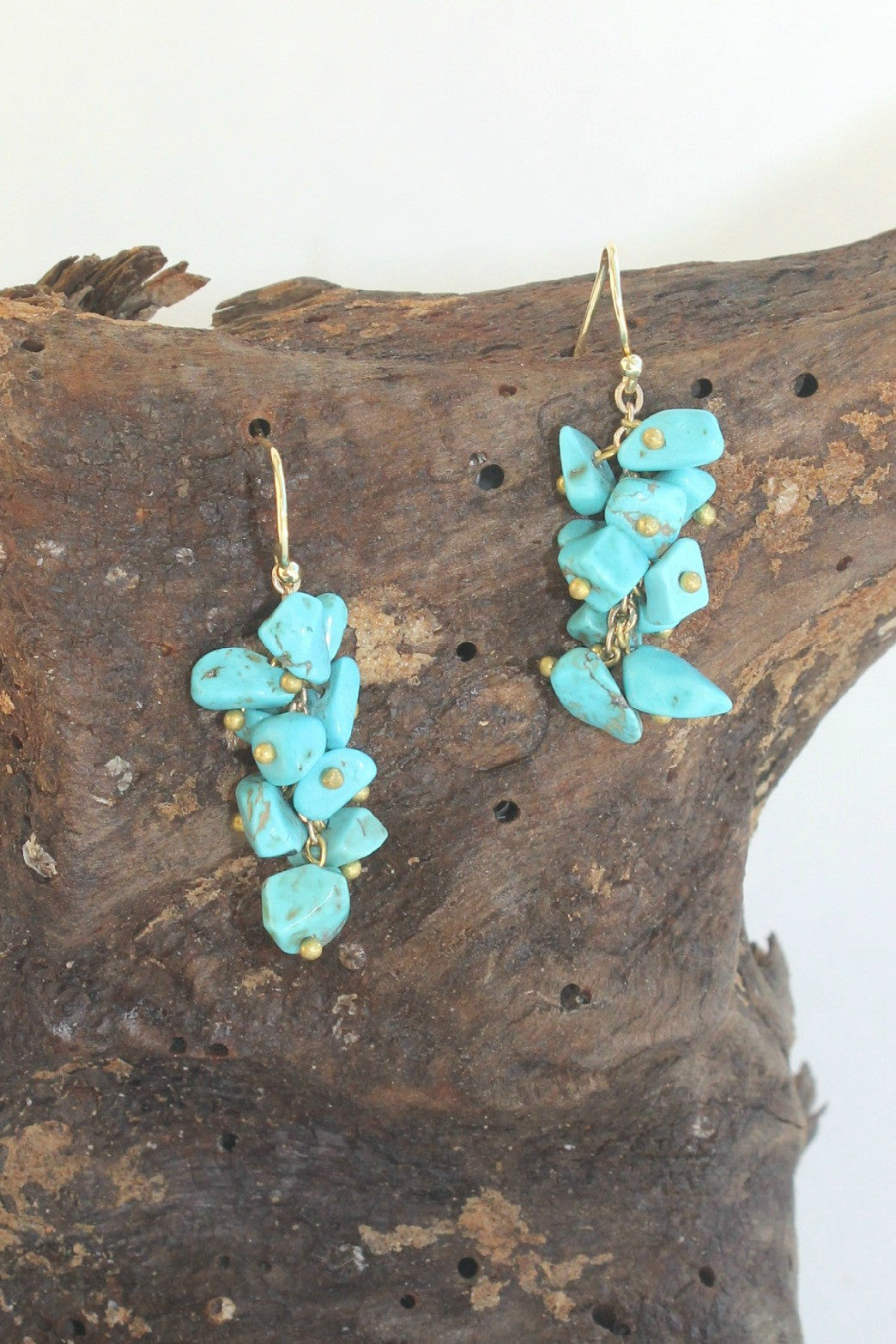 Stone Chip Earrings, Turquoise