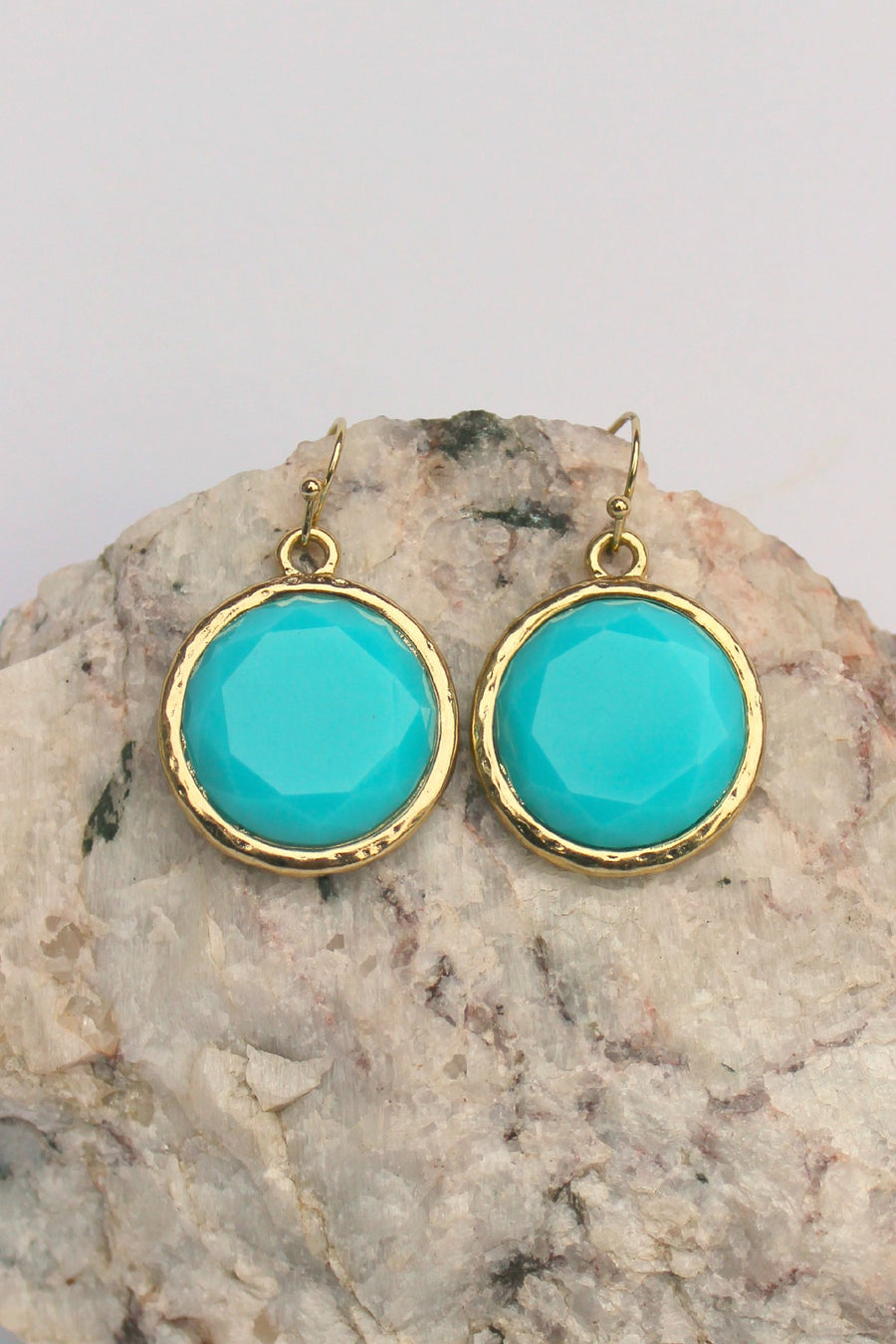 Round Earrings, Blue