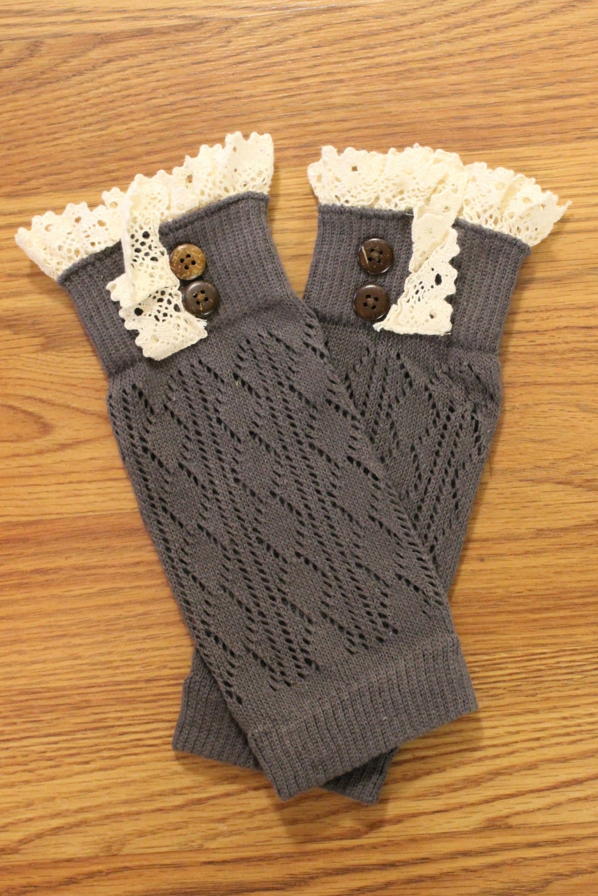 Lace Trim Boot Cuffs, Gray