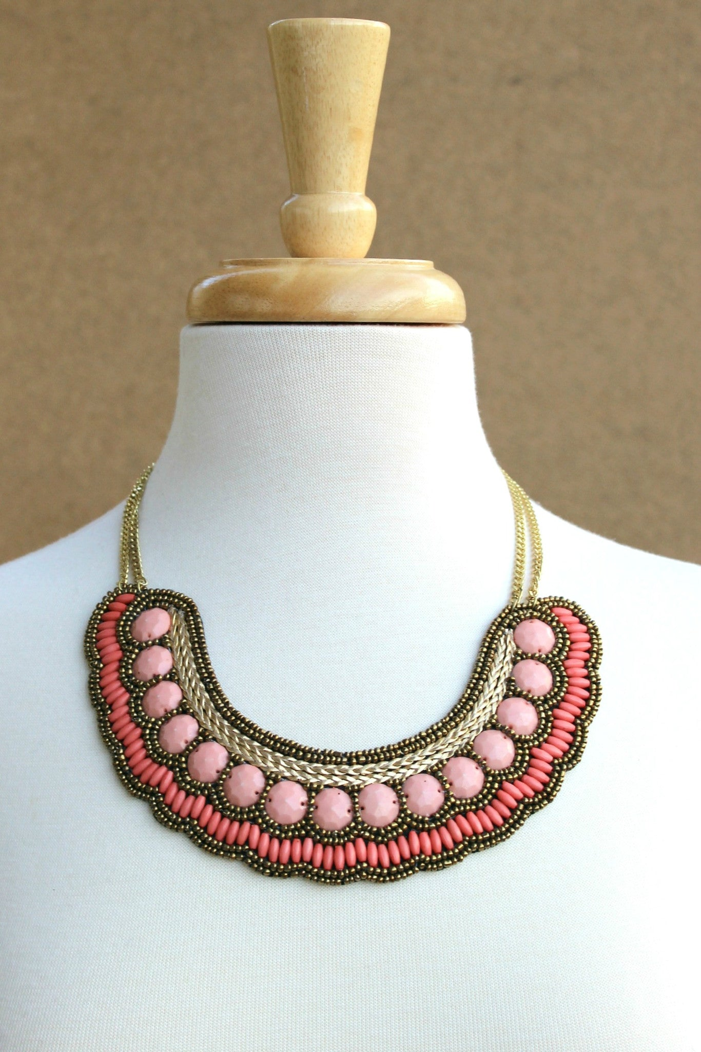 Beaded Bib Necklace, Coral