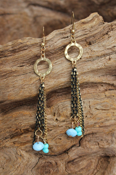 Ring and Tassel Earrings, Turquoise