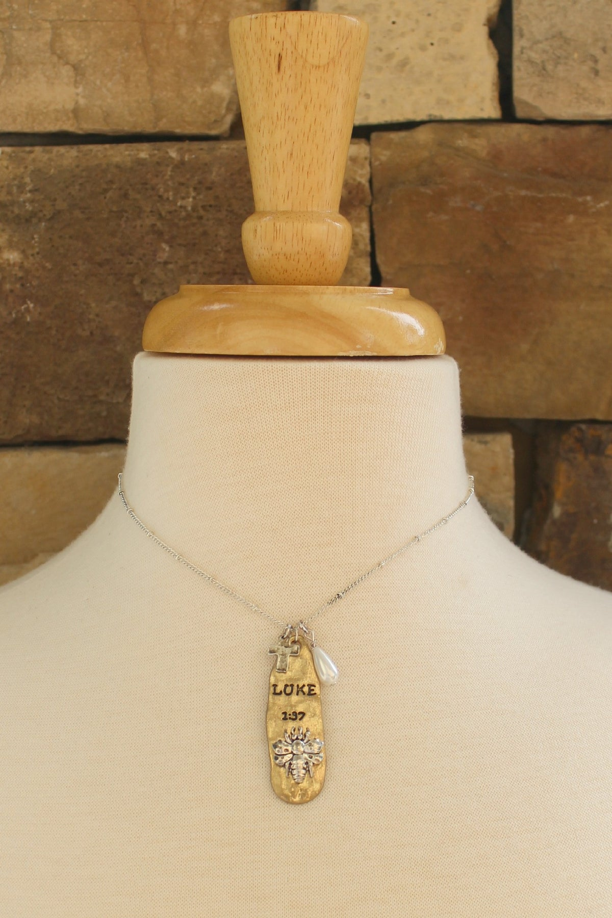 Luke 1:37 Necklace, Gold