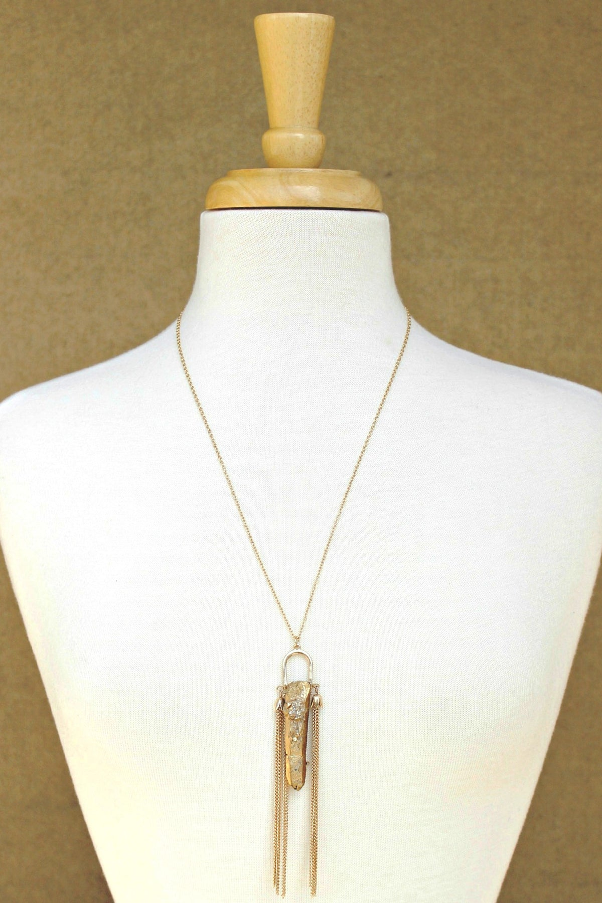 Druzy Necklace, Gold