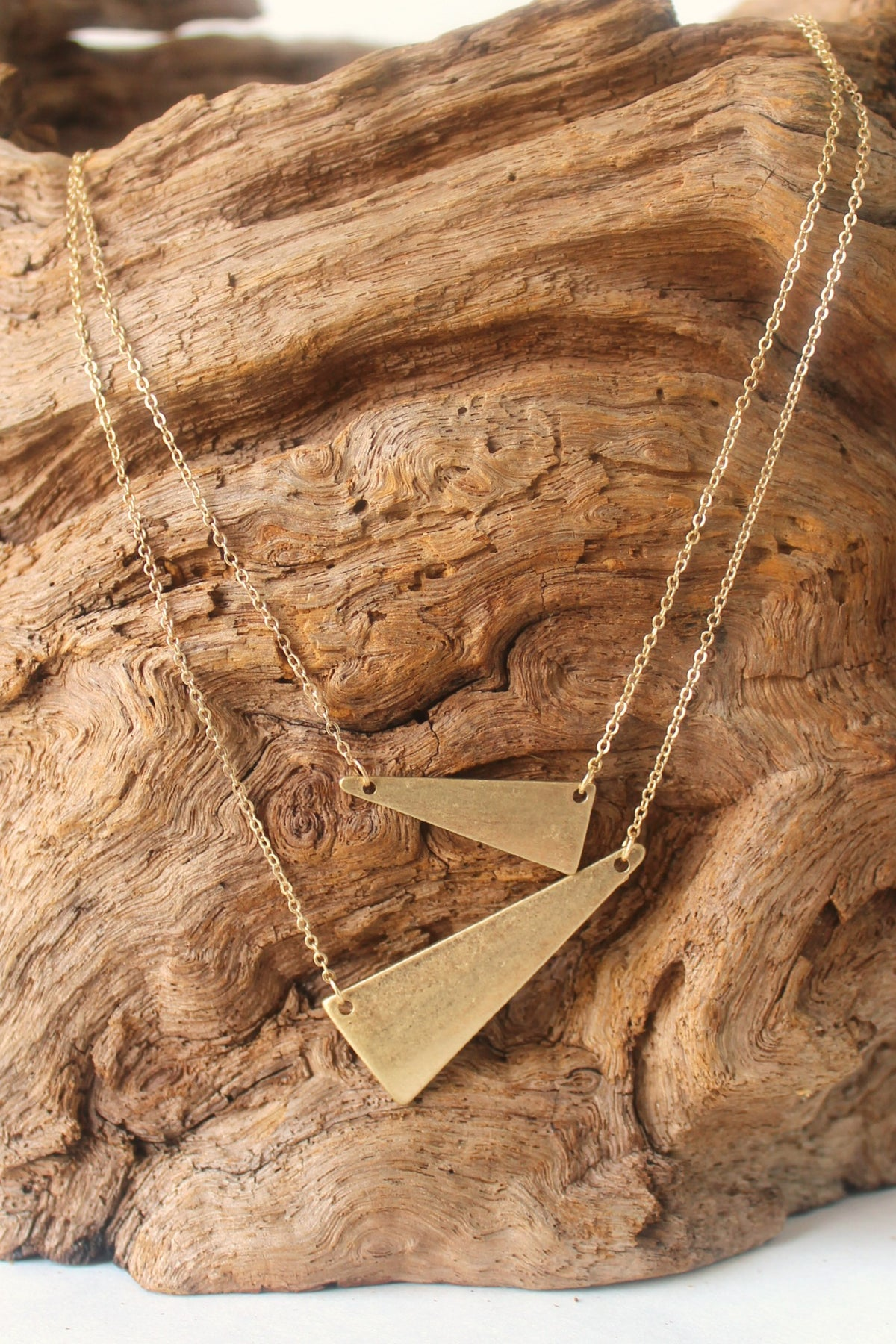 Double Offset Triangle Necklace, Gold