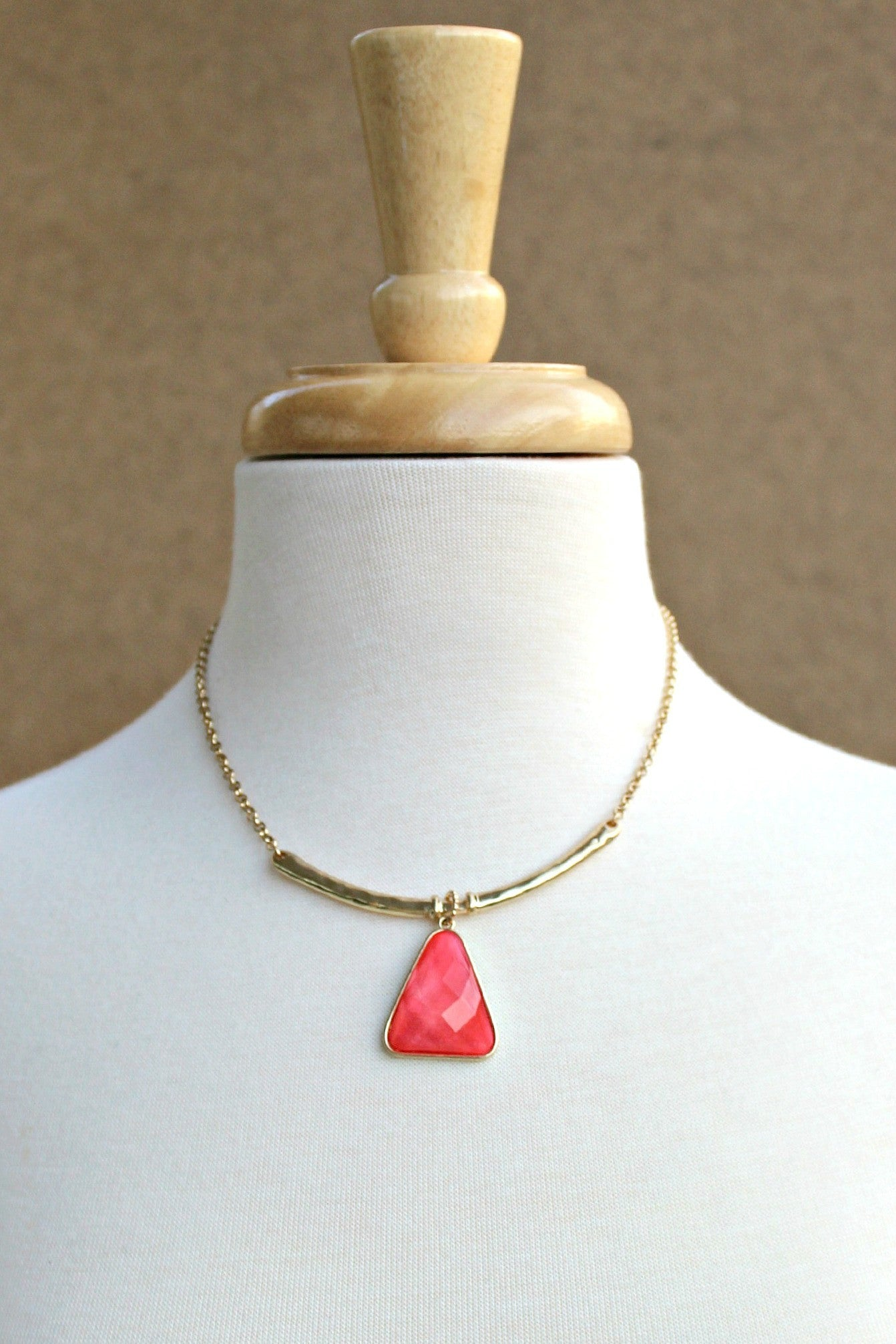 Bar Necklace, Coral