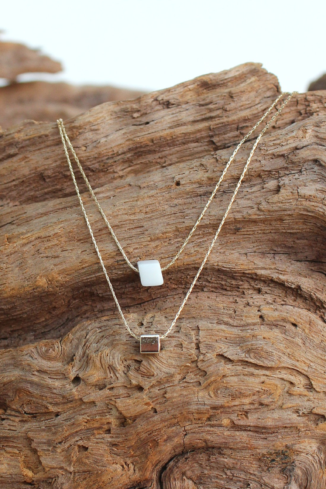 Layered Two Row Cube Necklace, White