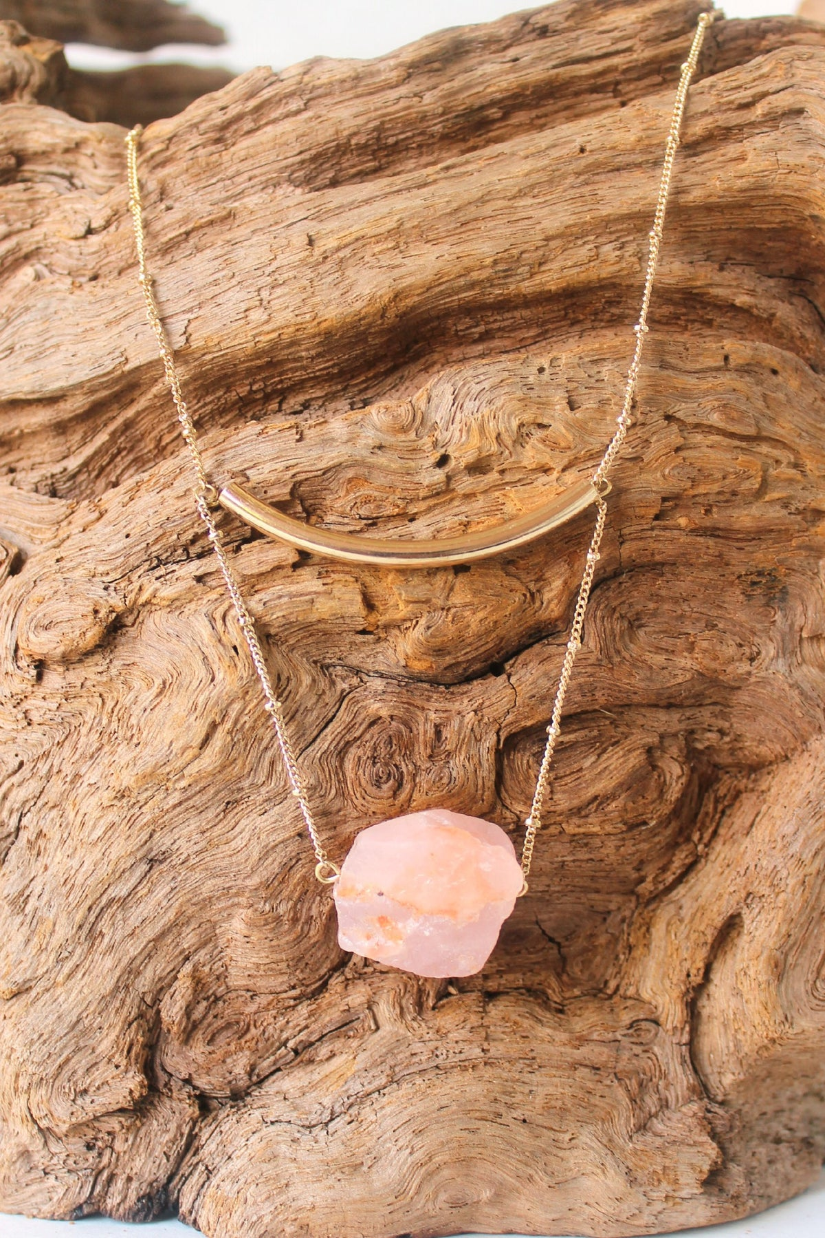 Stone and Balance Bar Necklace, Pink