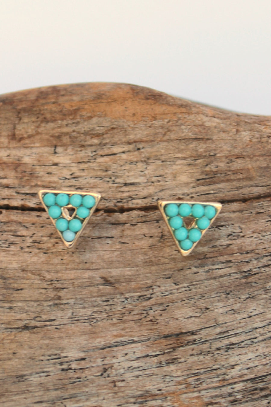 Beaded Triangle Earrings, Aqua