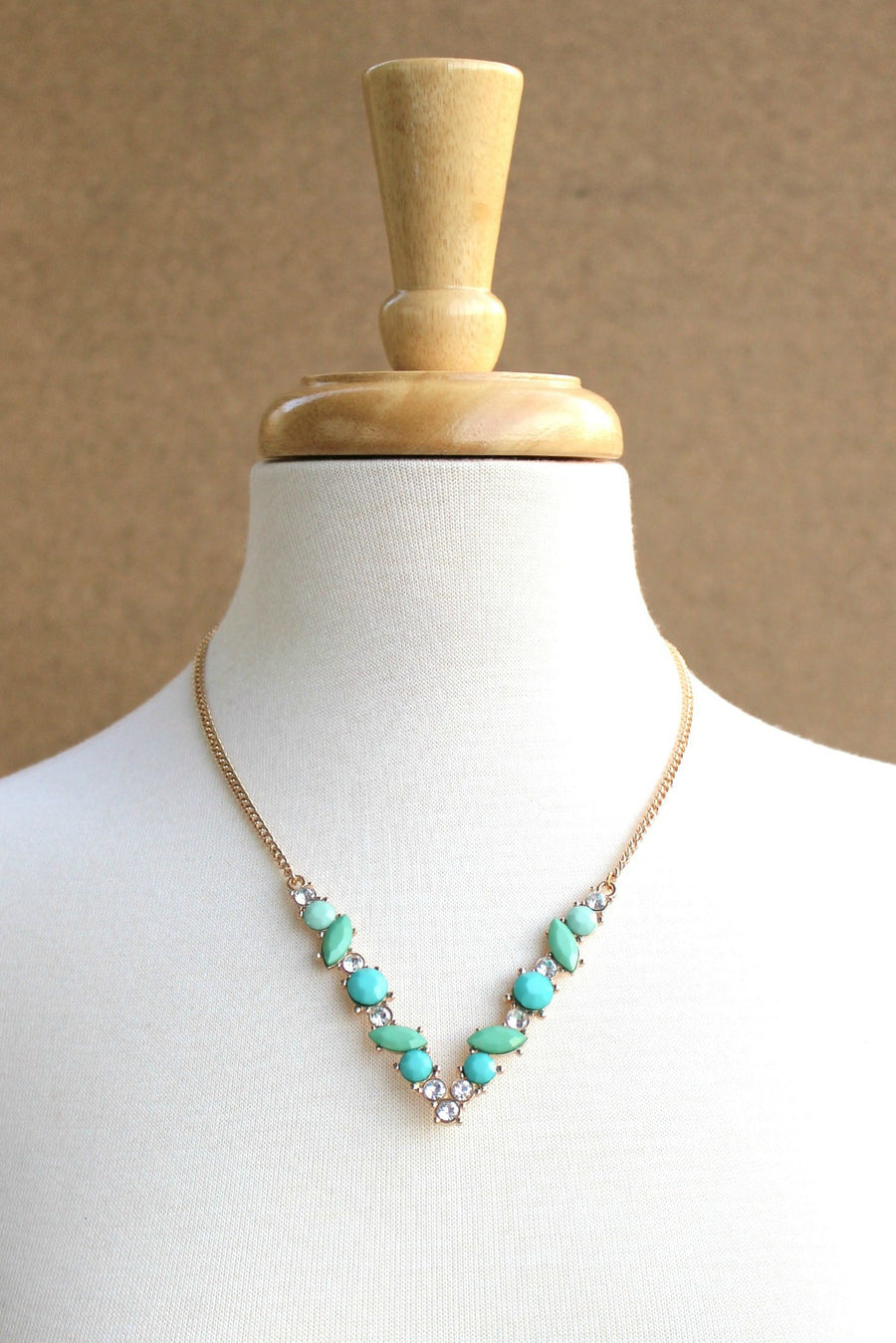 Beaded V Necklace, Mint