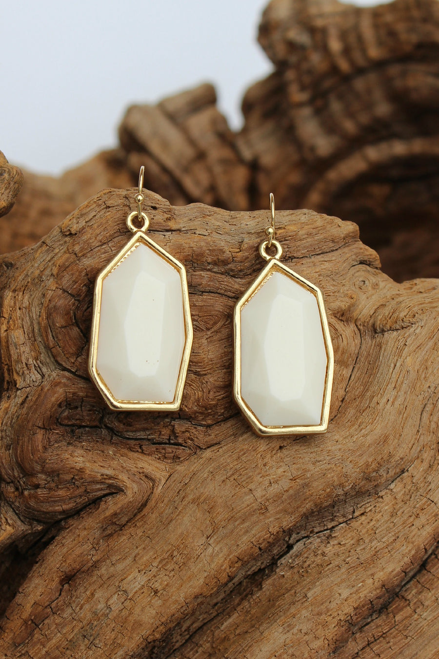 Geometric Earrings, White