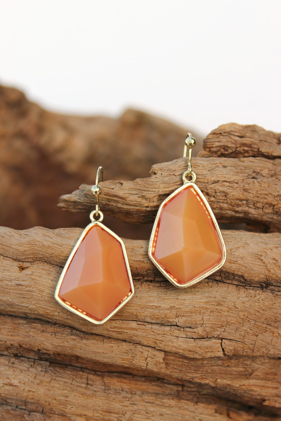 Offset Pentagon Earrings, Caramel