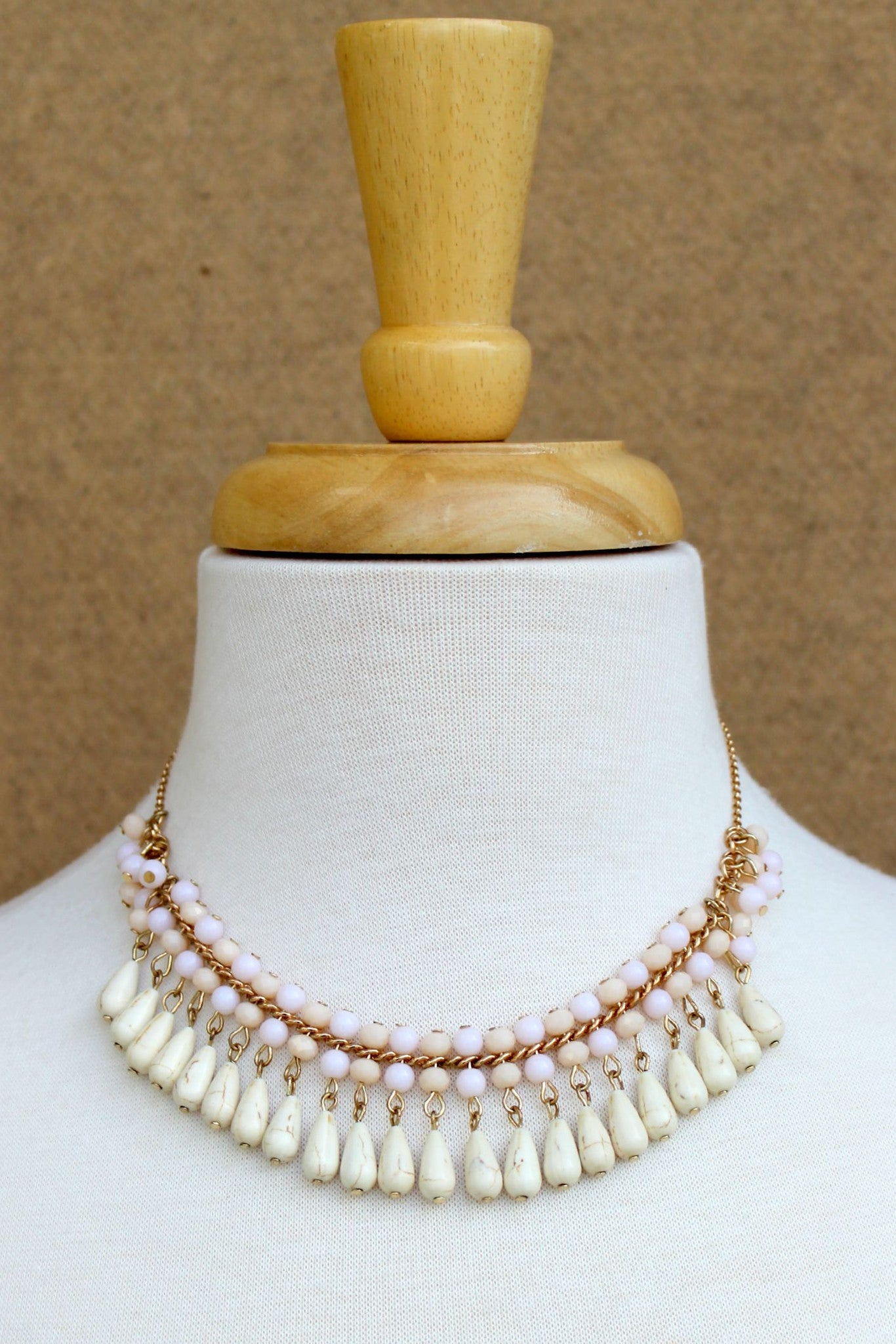 Double Beaded Necklace with Teardrops, Beige