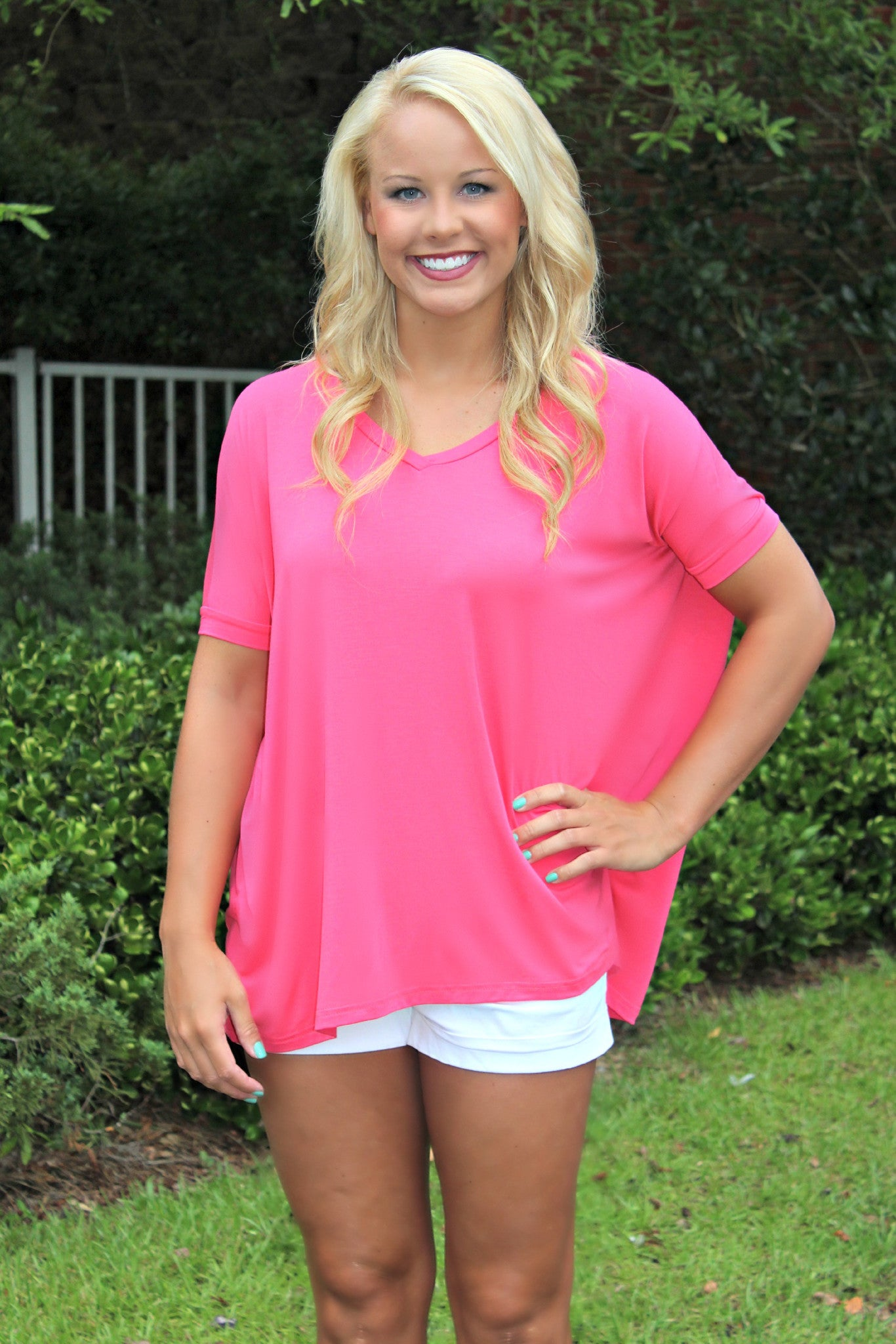 Piko: Knitted Blouse, Hot Pink