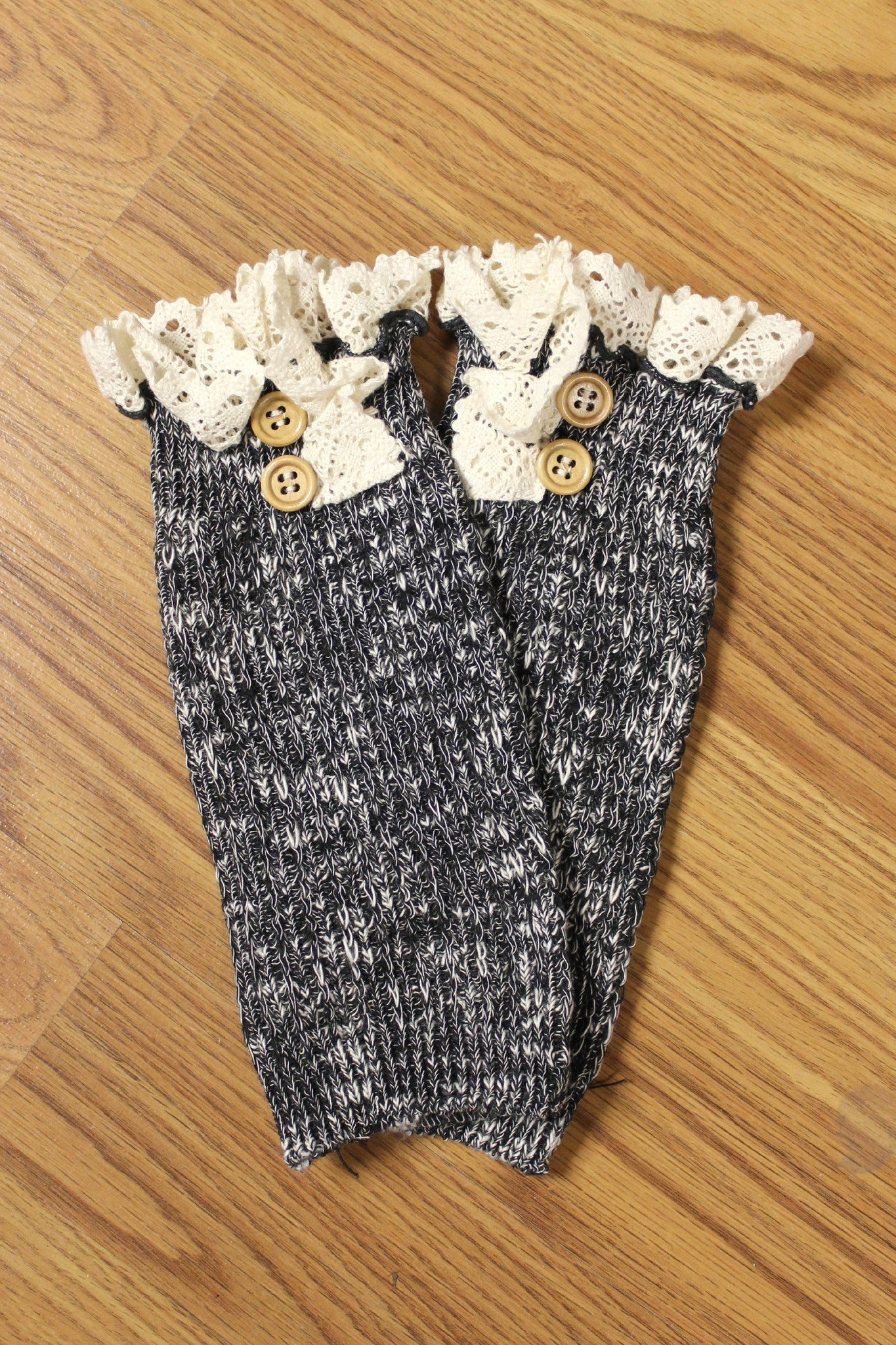 Lace Trim Boot Cuffs, Charcoal