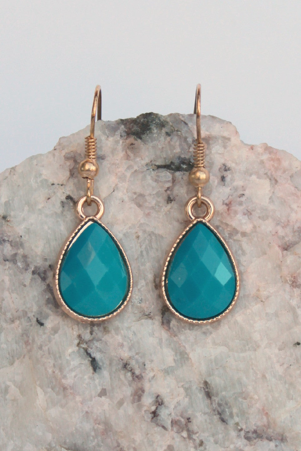 Faceted Teardrop Earrings, Teal