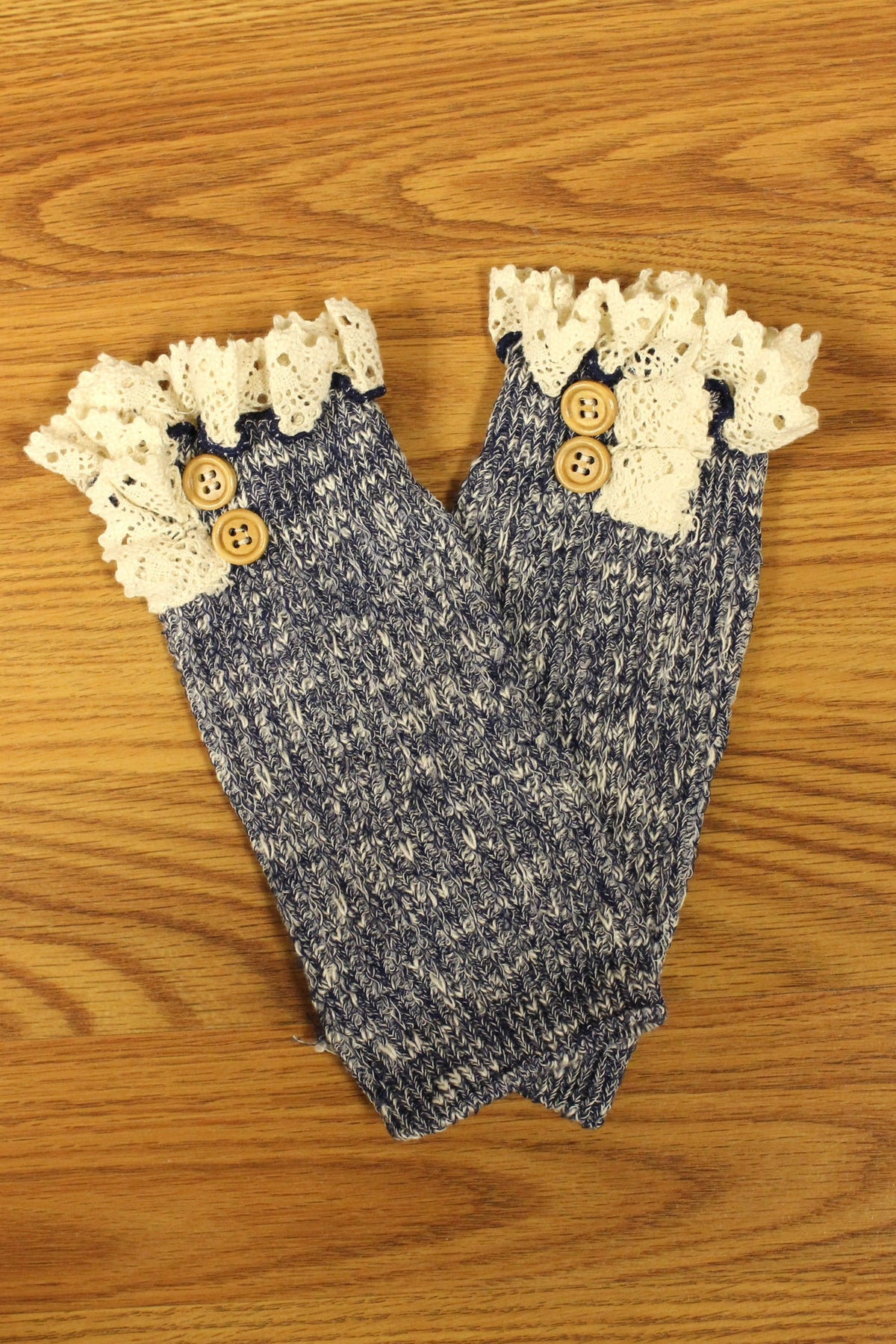 Lace Trim Boot Cuffs, Denim