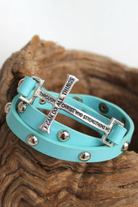 Christ Strengthens Cross Bracelet, Blue