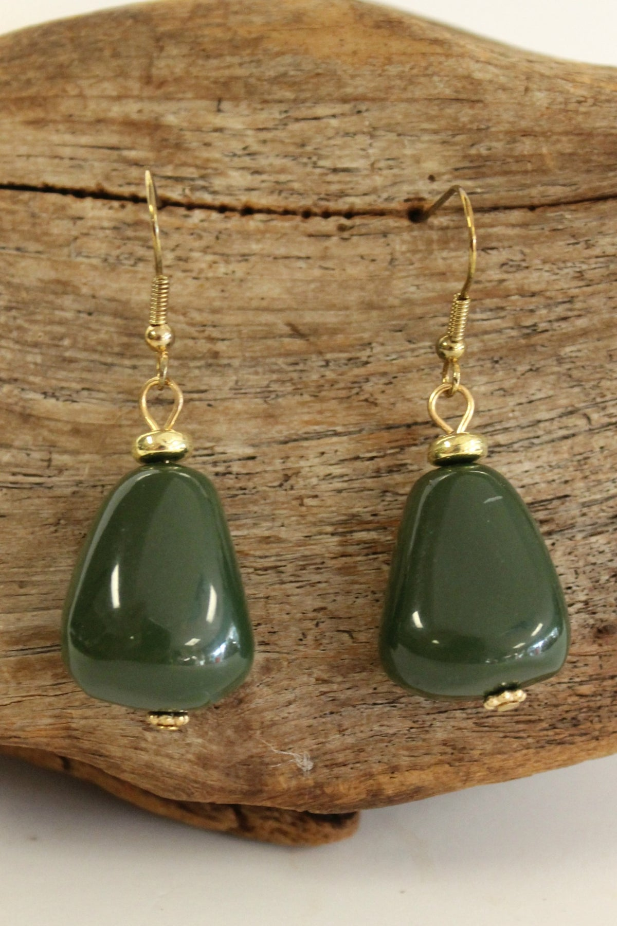 Chunky Nugget Earrings, Olive