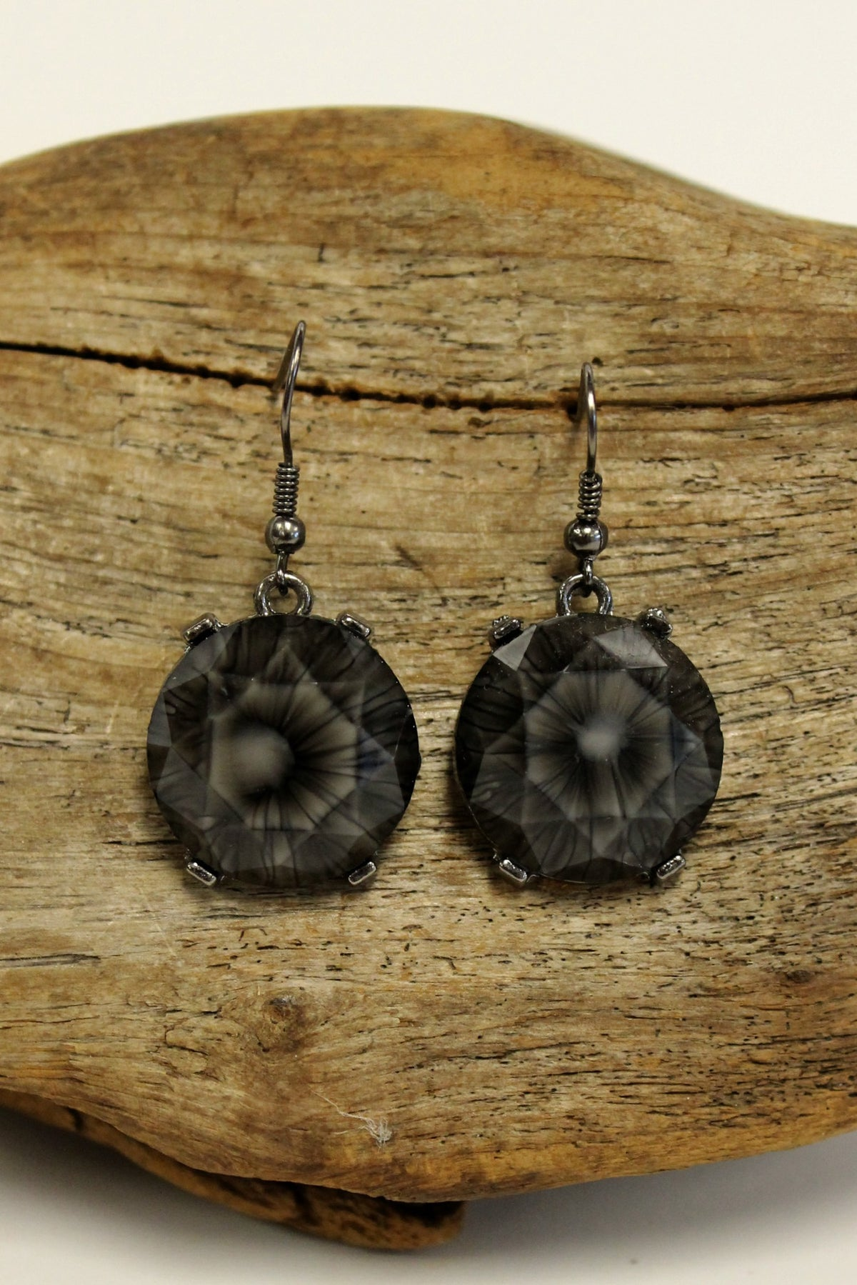 Faceted Starburst Earrings, Charcoal