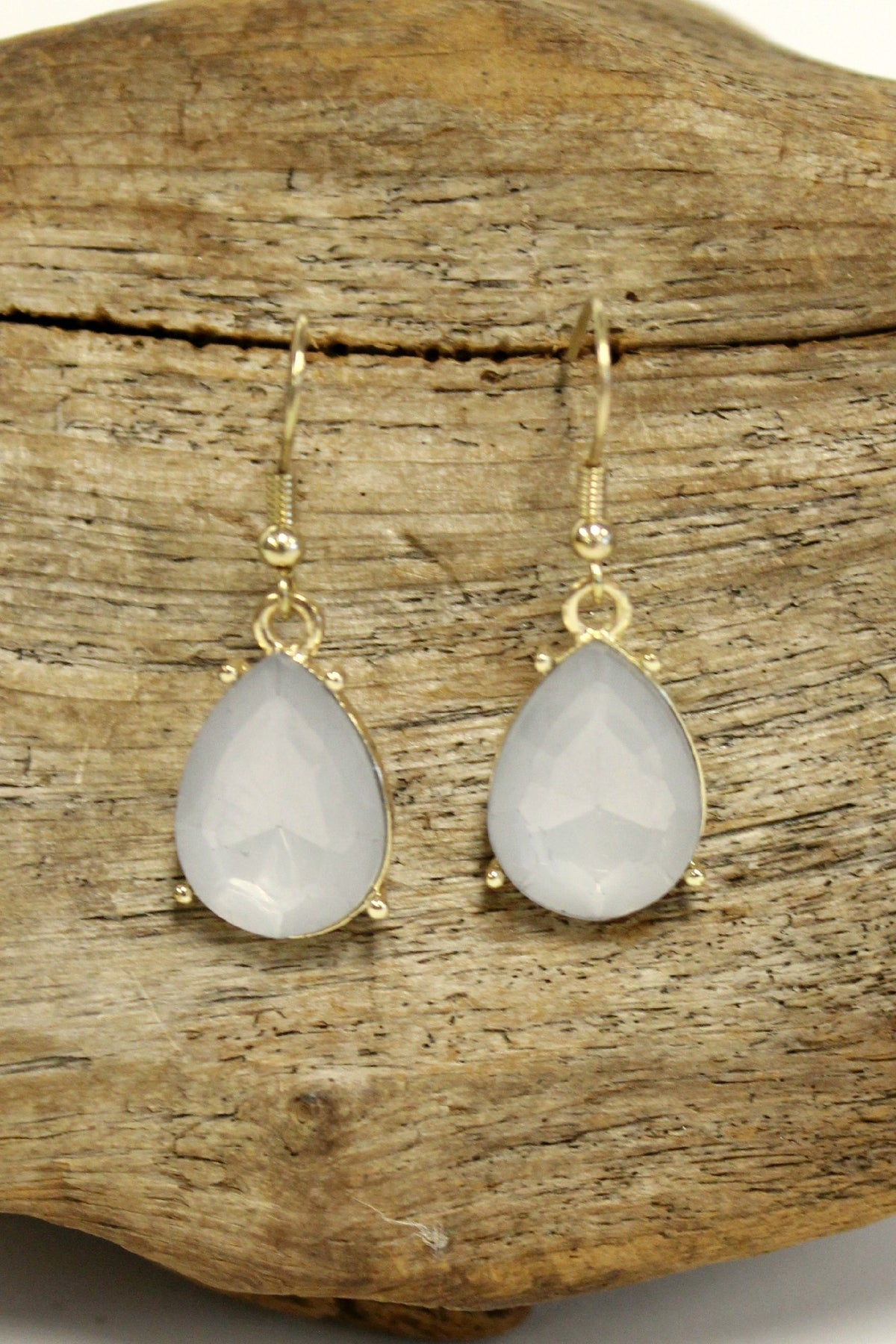 Faceted Teardrop Earrings, Gray