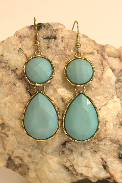 Disk and Teardrop Earrrings, Carolina Blue