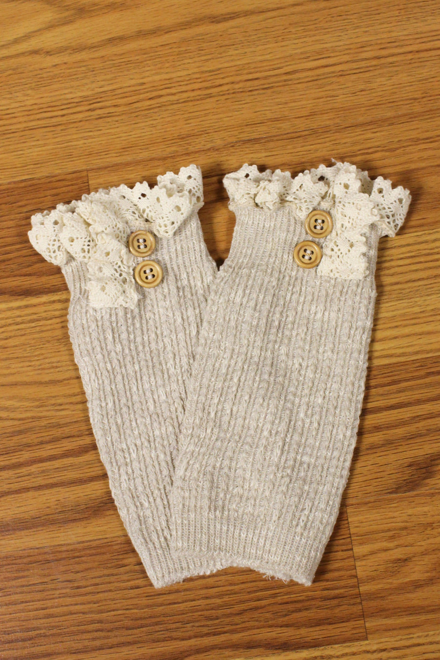 Lace Trim Boot Cuffs, Oatmeal