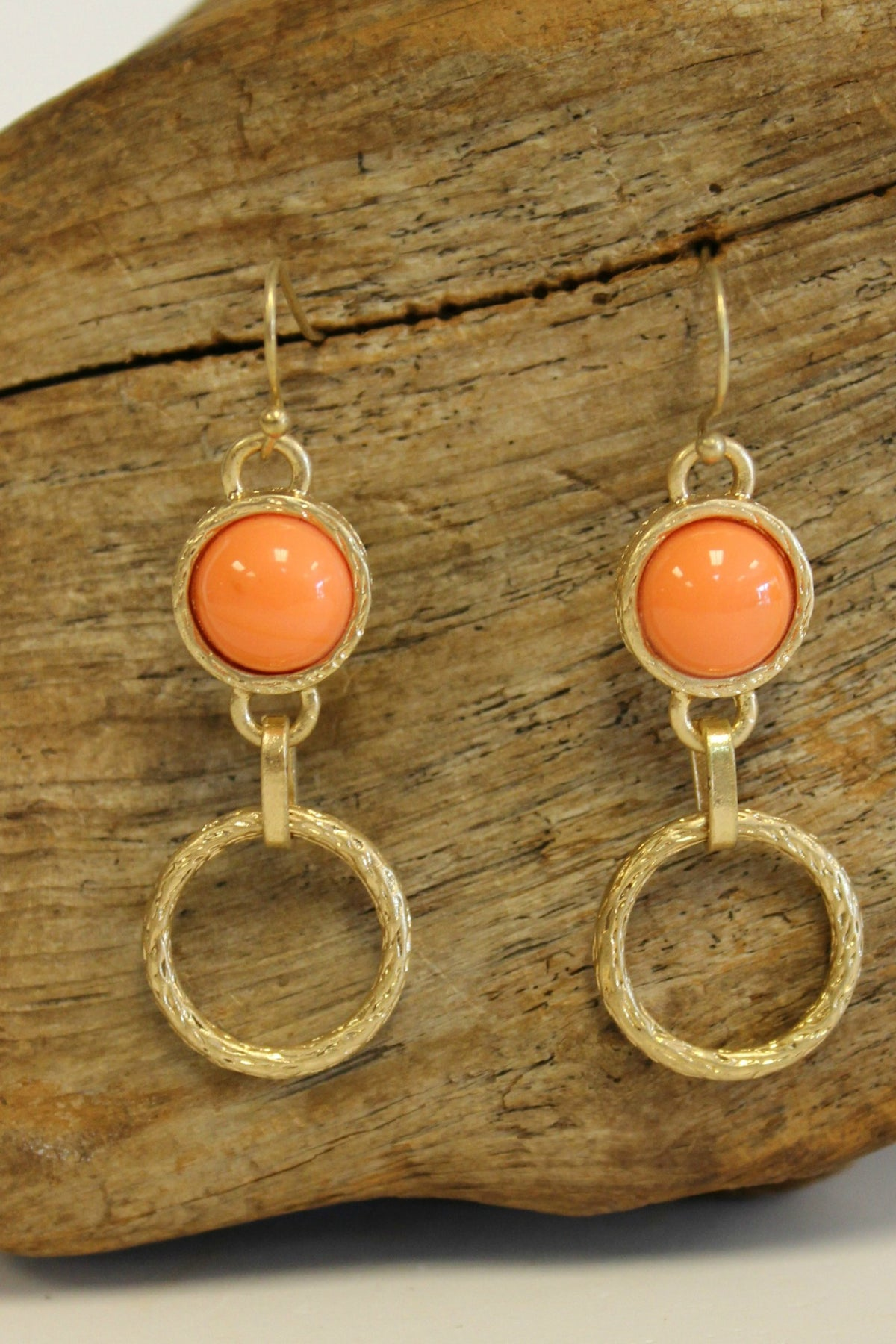 Etched Ring and Bead Earrings, Orange
