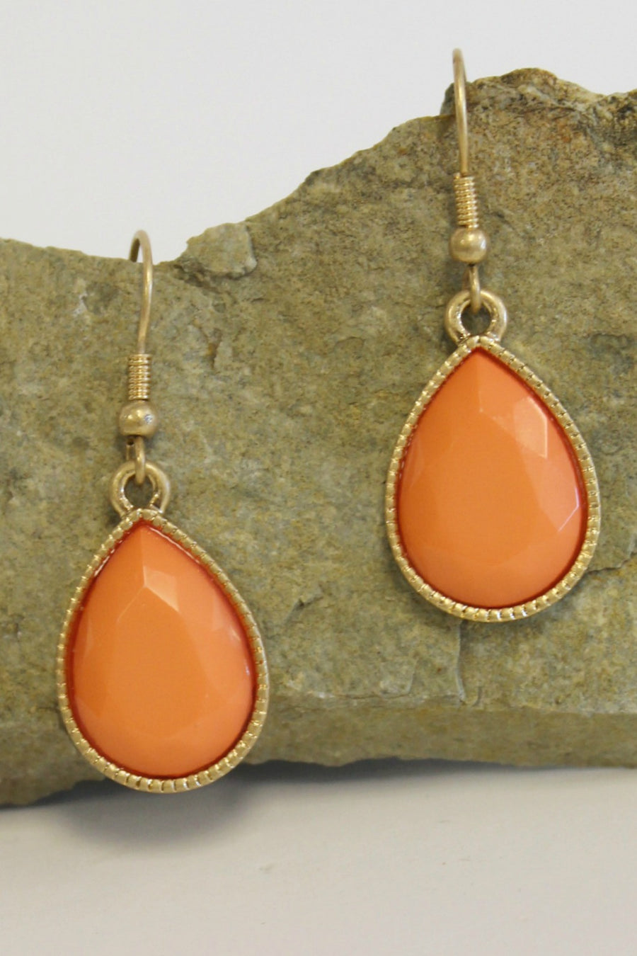 Faceted Teardrop Earrings, Orange