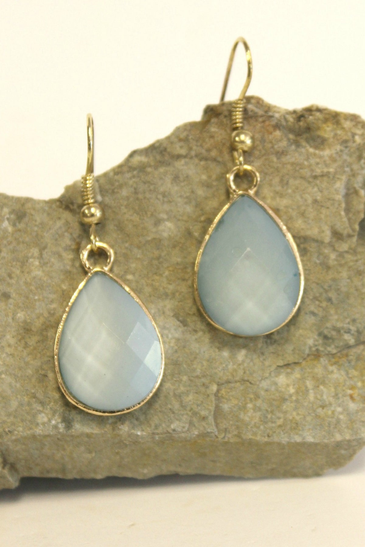 Faceted Teardrop Earrings, Periwinkle