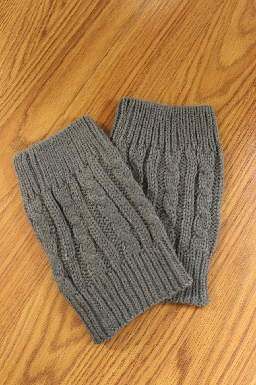 Cable Knit Boot Cuffs, Charcoal