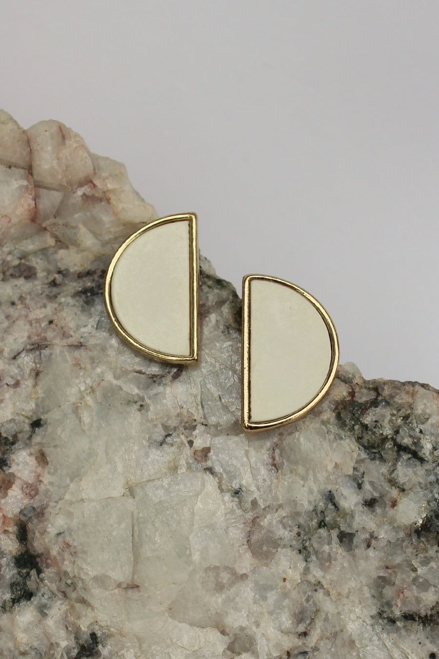 Semicircle Earrings, White