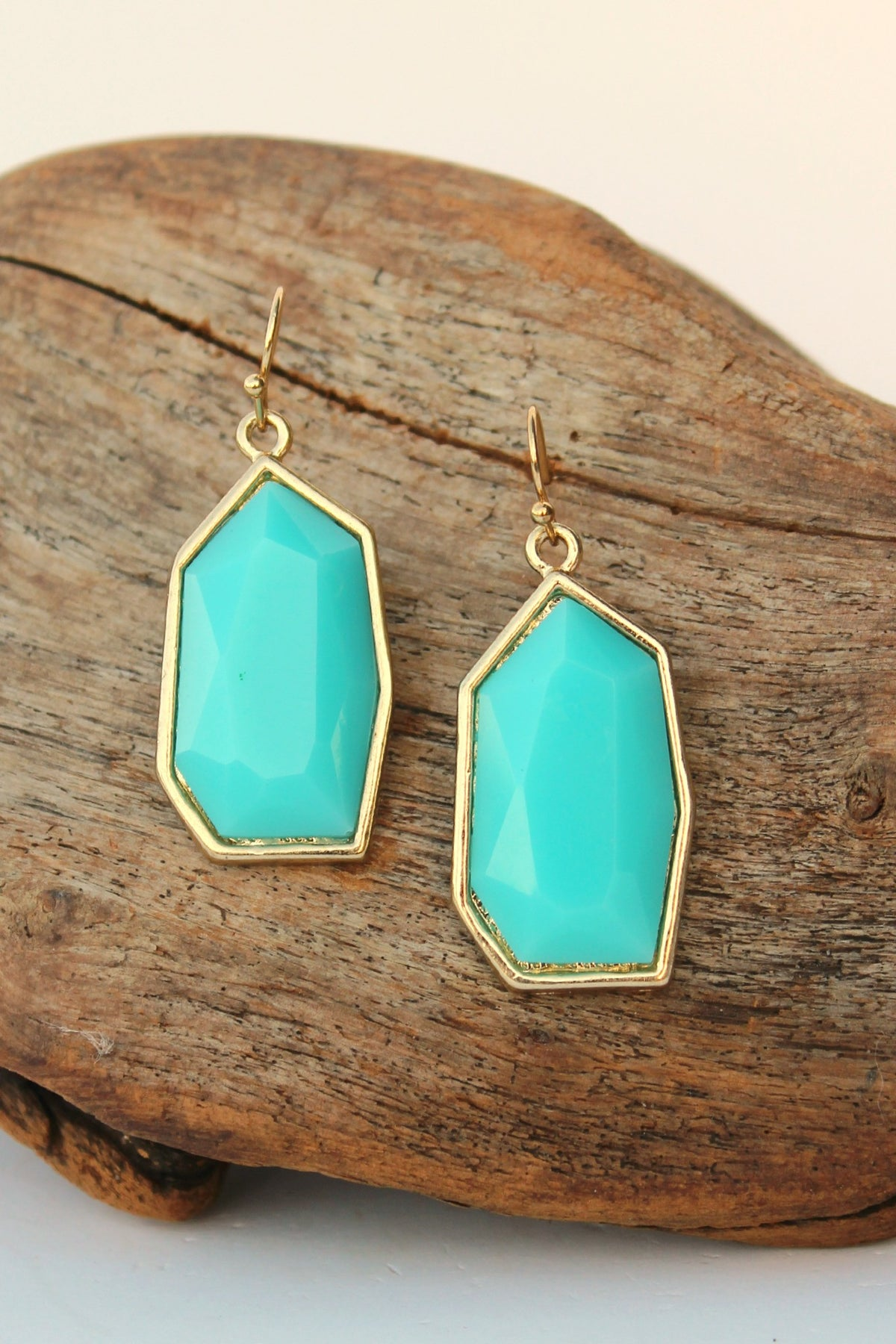 Offset Pentagon Earrings, Aqua