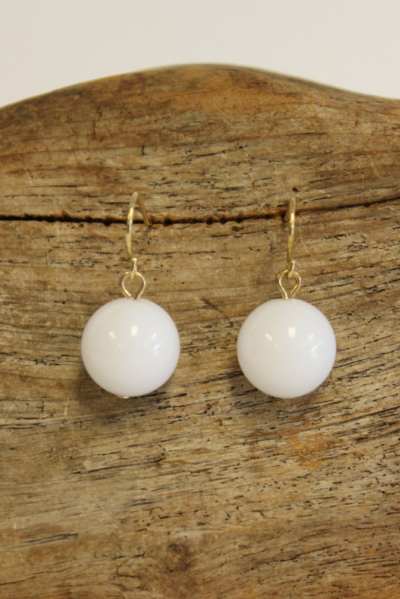 Single Bead Earrings, White
